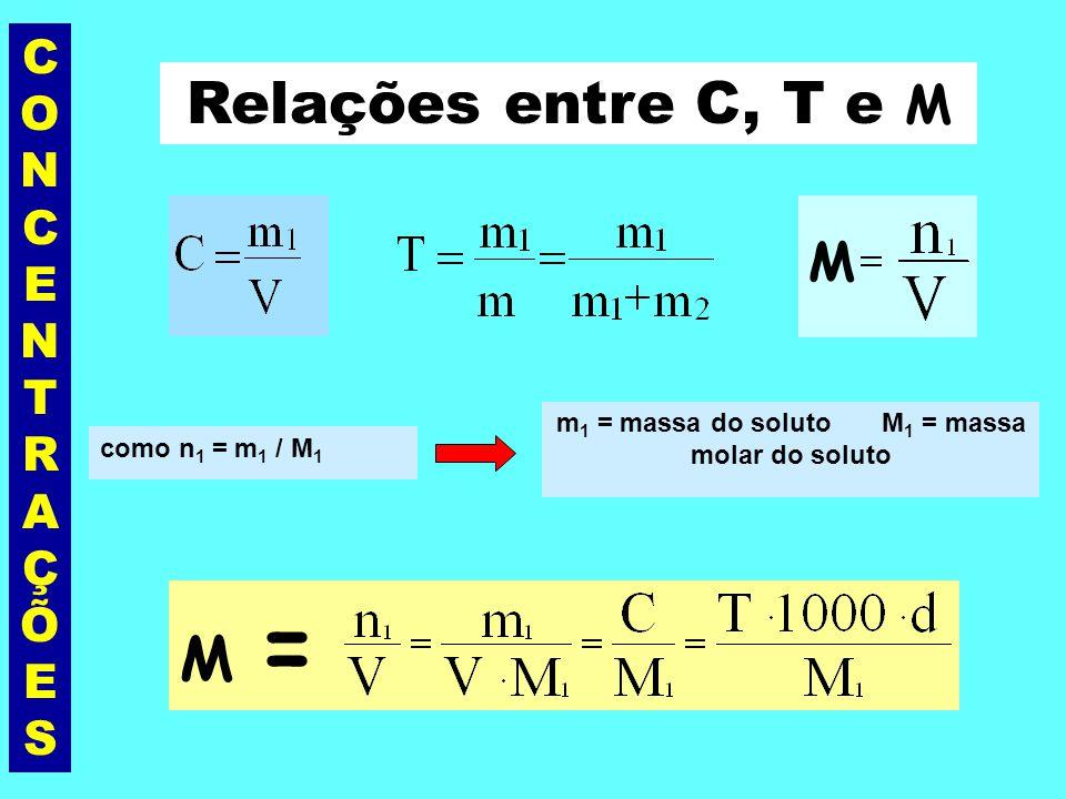 CONCENTRAÇÕESCONCENTRAÇÕES Observações: 1. A Concentração (C) sempre deve ser expressa em g/L; 2. Se a densidade também está expressa em g/L a relação