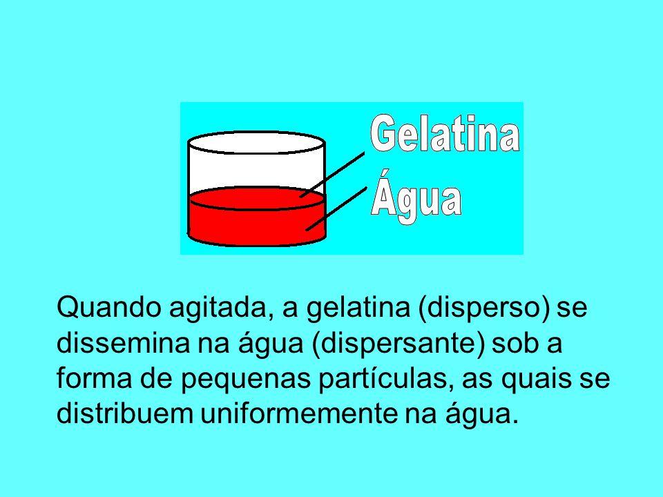 Vejamos alguns exemplos: Ao agitar a mistura, a sacarose (disperso) se dissemina na água (dispersante) sob a forma de pequenas partículas, as quais se distribuem uniformemente na água.