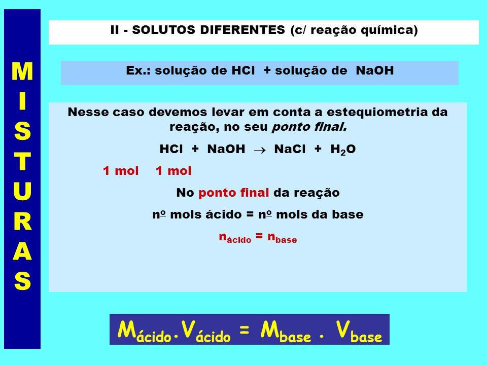 Exemplo Foram misturados 0,5 L de solução 1 M de NaOH, com 1,5 L de solução 2 M, da mesma base. Qual a Molaridade resultante ? Solução: M = 1 ; V = 0,