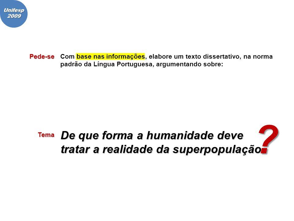 Pede-seCom base nas informações, elabore um texto dissertativo, na norma padrão da Língua Portuguesa, argumentando sobre: Unifesp2009 Tema De que form