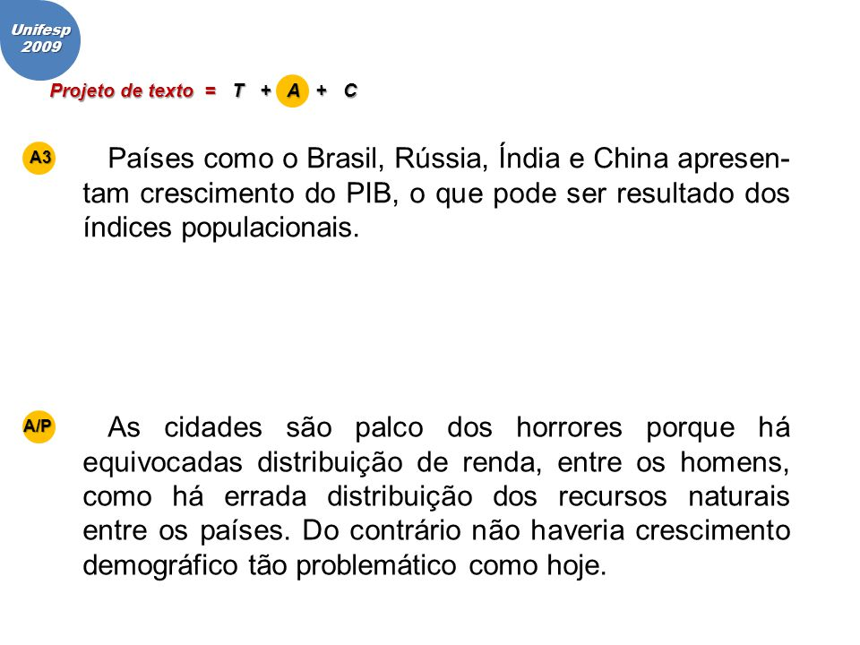 Projeto de texto = T + A + C Países como o Brasil, Rússia, Índia e China apresen- tam crescimento do PIB, o que pode ser resultado dos índices populac