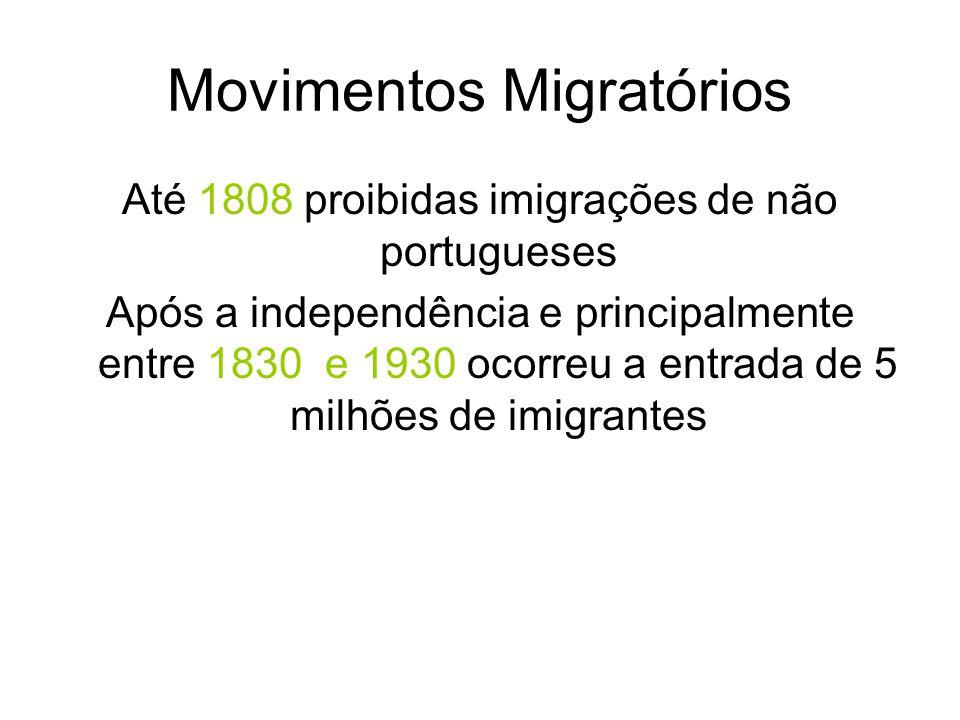 Movimentos Migratórios Até 1808 proibidas imigrações de não portugueses Após a independência e principalmente entre 1830 e 1930 ocorreu a entrada de 5