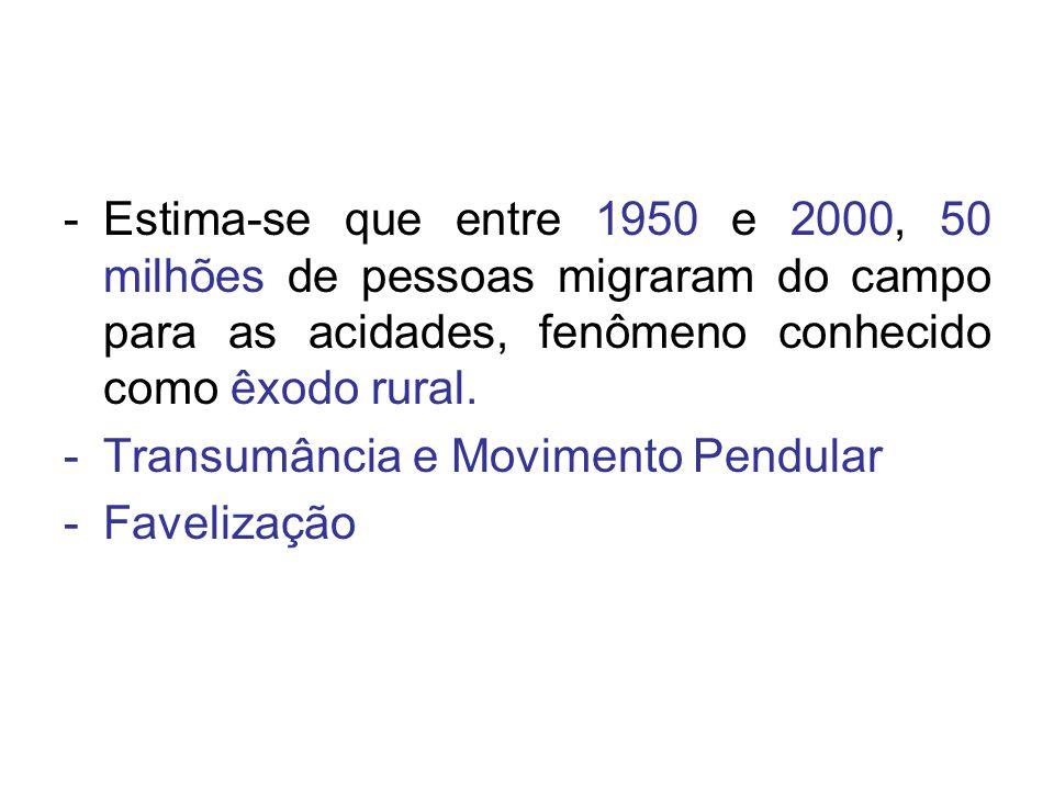 -Estima-se que entre 1950 e 2000, 50 milhões de pessoas migraram do campo para as acidades, fenômeno conhecido como êxodo rural. -Transumância e Movim