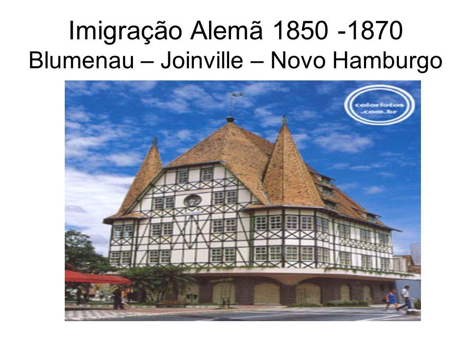 Imigração Alemã 1850 -1870 Blumenau – Joinville – Novo Hamburgo