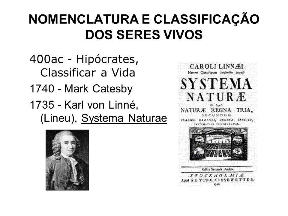 NOMENCLATURA E CLASSIFICAÇÃO DOS SERES VIVOS 400ac - Hipócrates, Classificar a Vida 1740 - Mark Catesby 1735 - Karl von Linné, (Lineu), Systema Natura