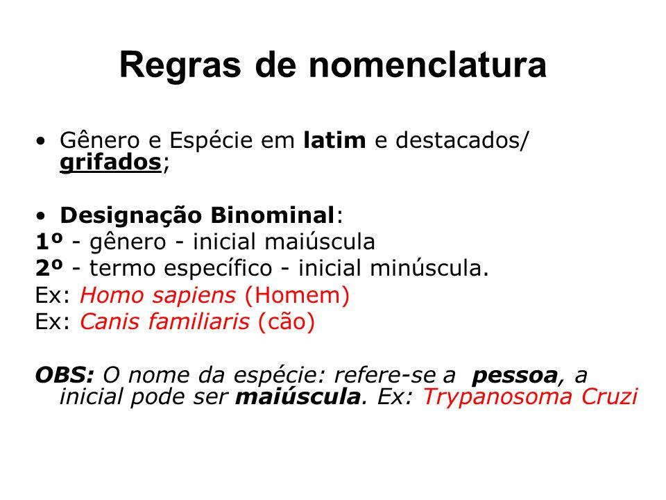Regras de nomenclatura Gênero e Espécie em latim e destacados/ grifados; Designação Binominal: 1º - gênero - inicial maiúscula 2º - termo específico -