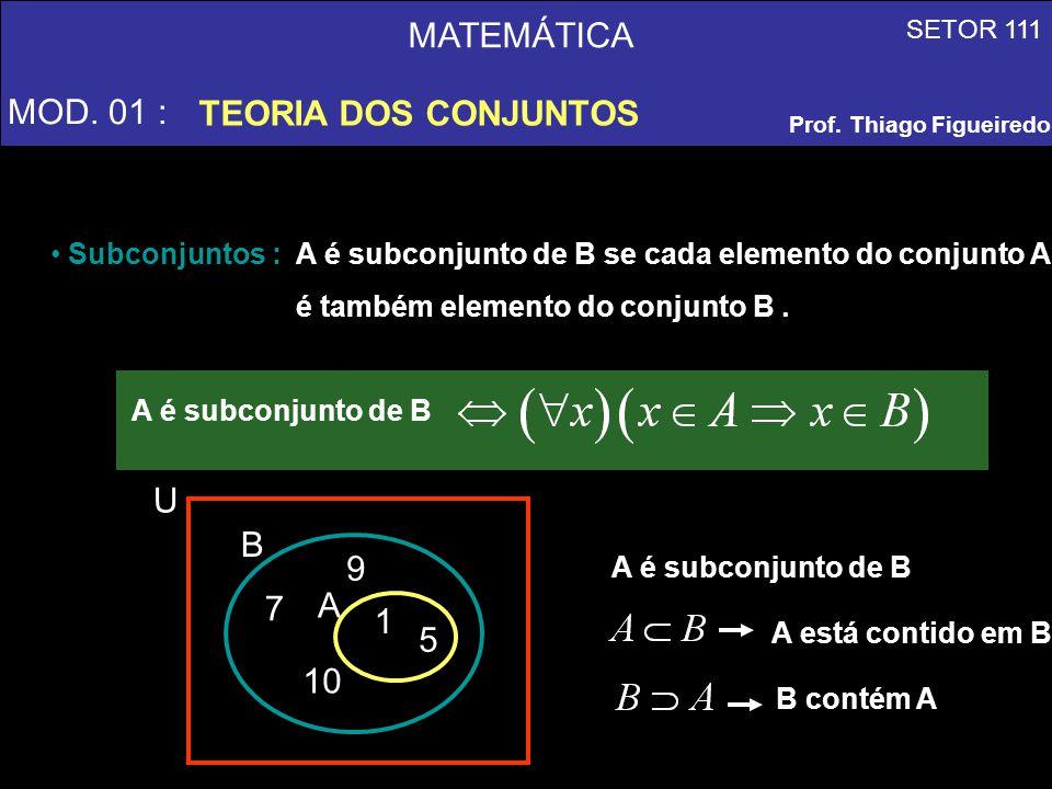 MATEMÁTICA MOD. 01 : TEORIA DOS CONJUNTOS SETOR 111 Prof. Thiago Figueiredo Subconjuntos : A é subconjunto de B se cada elemento do conjunto A é també