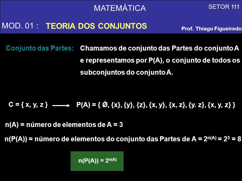 MATEMÁTICA MOD. 01 : TEORIA DOS CONJUNTOS SETOR 111 Prof. Thiago Figueiredo Conjunto das Partes: Chamamos de conjunto das Partes do conjunto A e repre