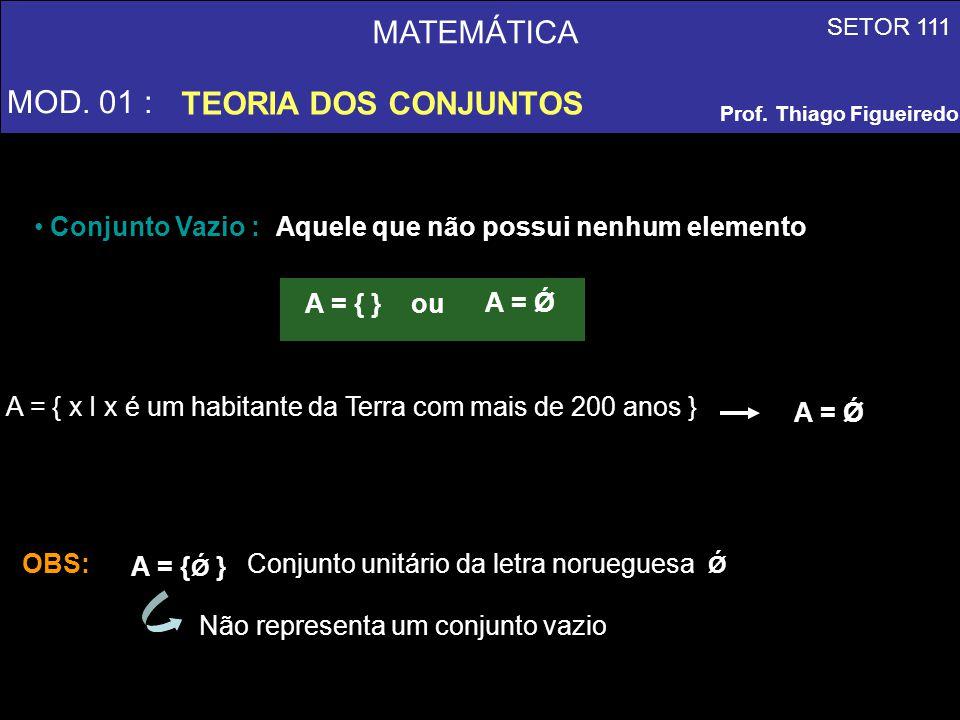 MATEMÁTICA MOD. 01 : TEORIA DOS CONJUNTOS SETOR 111 Prof. Thiago Figueiredo A = { x I x é um habitante da Terra com mais de 200 anos } Conjunto Vazio
