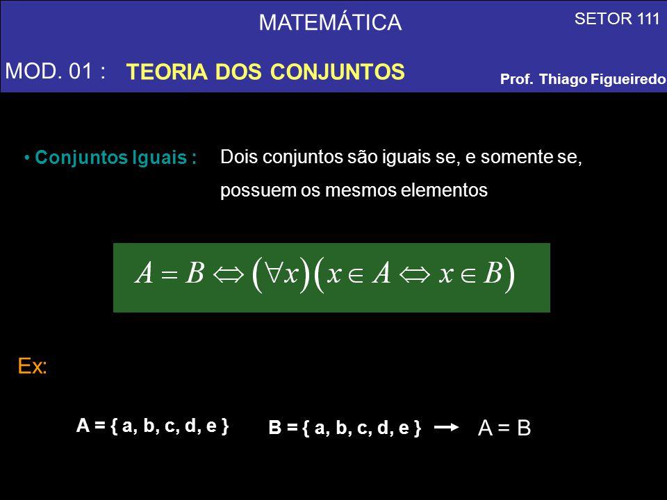 MATEMÁTICA MOD. 01 : TEORIA DOS CONJUNTOS SETOR 111 Prof. Thiago Figueiredo Conjuntos Iguais : Dois conjuntos são iguais se, e somente se, possuem os