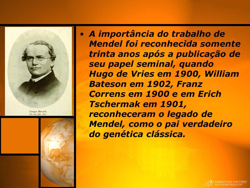 A importância do trabalho de Mendel foi reconhecida somente trinta anos após a publicação de seu papel seminal, quando Hugo de Vries em 1900, William