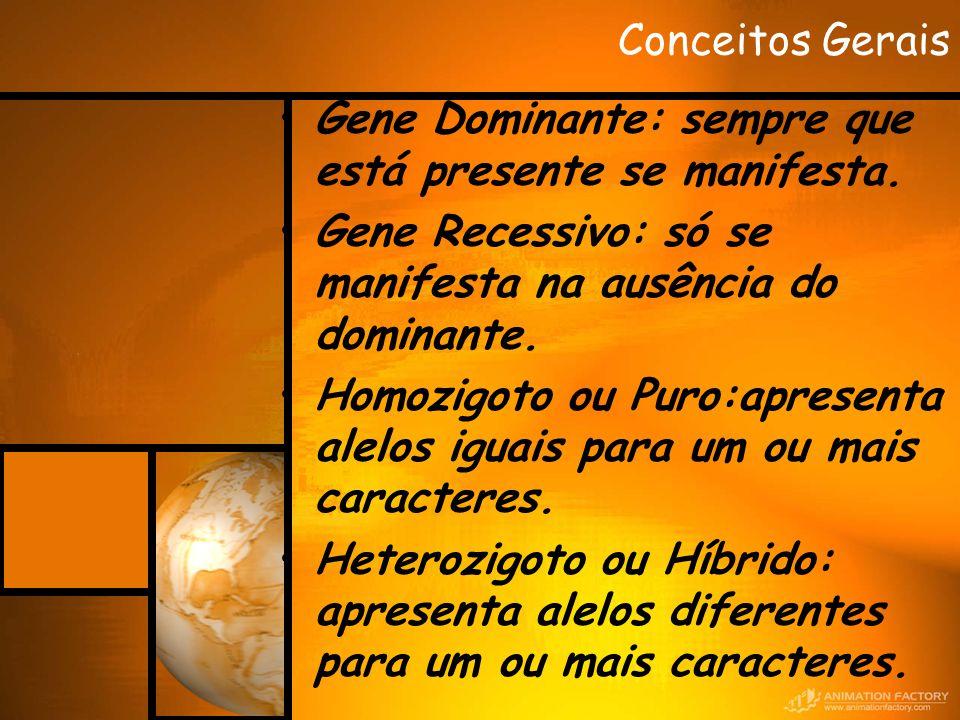 Conceitos Gerais Gene Dominante: sempre que está presente se manifesta. Gene Recessivo: só se manifesta na ausência do dominante. Homozigoto ou Puro:a