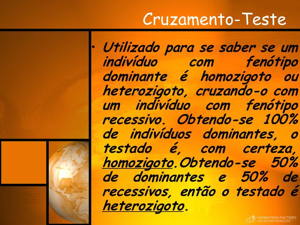 Cruzamento-Teste Utilizado para se saber se um indivíduo com fenótipo dominante é homozigoto ou heterozigoto, cruzando-o com um indivíduo com fenótipo