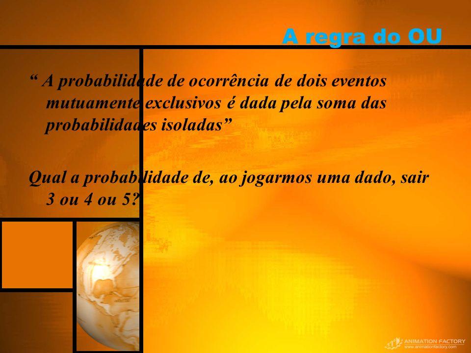A regra do OU A probabilidade de ocorrência de dois eventos mutuamente exclusivos é dada pela soma das probabilidades isoladas Qual a probabilidade de