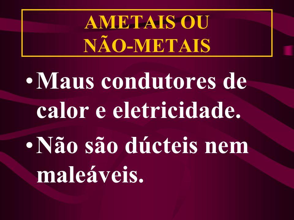 AMETAIS OU NÃO-METAIS Maus condutores de calor e eletricidade. Não são dúcteis nem maleáveis.