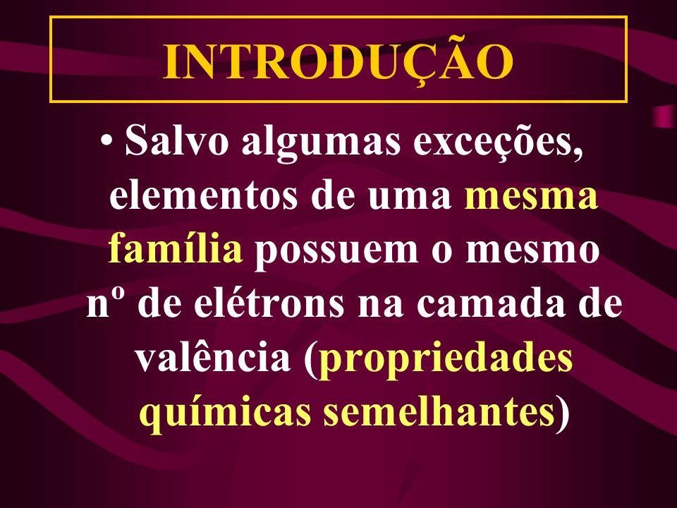 INTRODUÇÃO Salvo algumas exceções, elementos de uma mesma família possuem o mesmo nº de elétrons na camada de valência (propriedades químicas semelhantes)