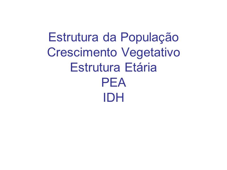 Estrutura da População Crescimento Vegetativo Estrutura Etária PEA IDH