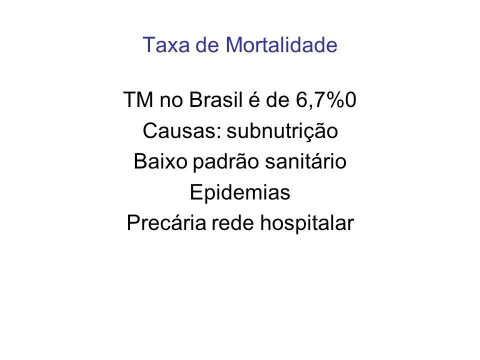 Taxa de Mortalidade TM no Brasil é de 6,7%0 Causas: subnutrição Baixo padrão sanitário Epidemias Precária rede hospitalar