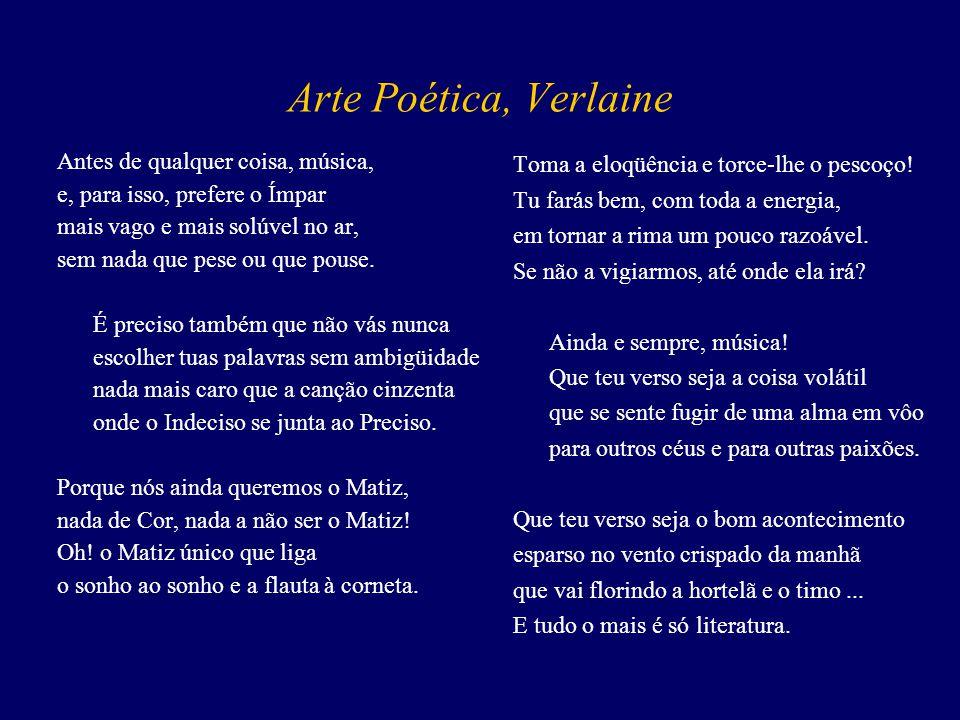 O Manifesto Simbolista (excerto) Inimiga do ensino, da declamação, da falsa sensibilidade, da descrição objetiva, a poesia simbolista busca: vestir a