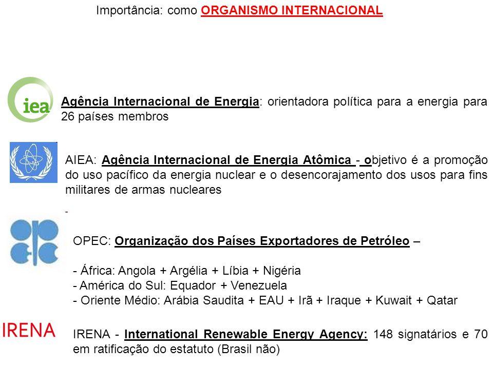 Importância: como ORGANISMO INTERNACIONAL Agência Internacional de Energia: orientadora política para a energia para 26 países membros AIEA: Agência I