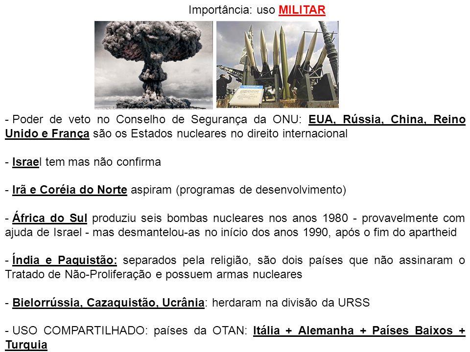 Importância: uso MILITAR - Poder de veto no Conselho de Segurança da ONU: EUA, Rússia, China, Reino Unido e França são os Estados nucleares no direito