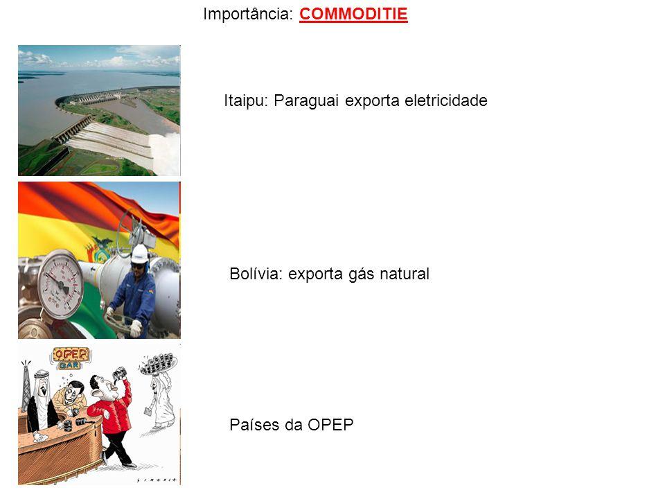 Importância: COMMODITIE Itaipu: Paraguai exporta eletricidade Bolívia: exporta gás natural Países da OPEP