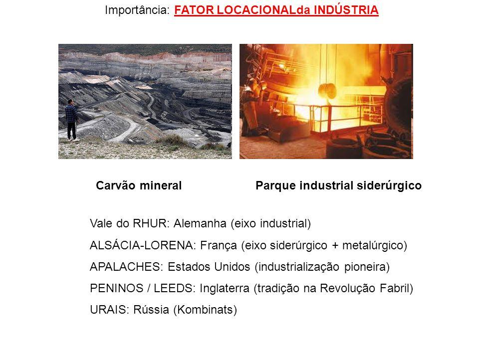 Importância: FATOR LOCACIONALda INDÚSTRIA Vale do RHUR: Alemanha (eixo industrial) ALSÁCIA-LORENA: França (eixo siderúrgico + metalúrgico) APALACHES: