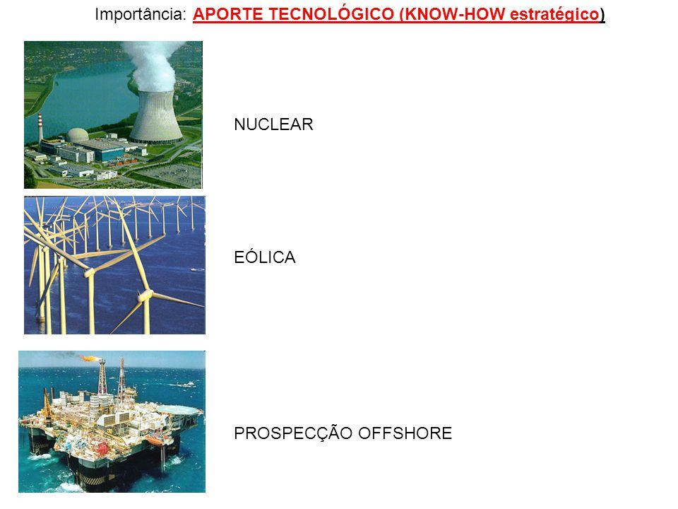 Importância: APORTE TECNOLÓGICO (KNOW-HOW estratégico) NUCLEAR EÓLICA PROSPECÇÃO OFFSHORE