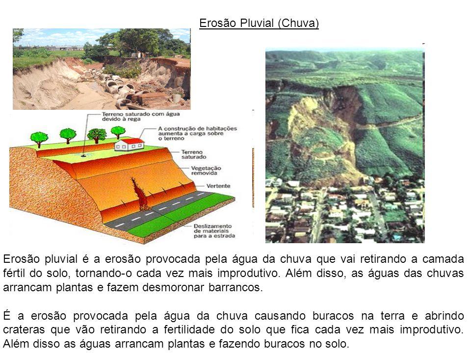 Erosão Pluvial (Chuva) Erosão pluvial é a erosão provocada pela água da chuva que vai retirando a camada fértil do solo, tornando-o cada vez mais impr