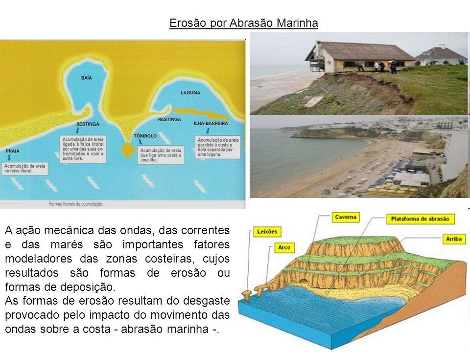 Erosão por Abrasão Marinha A ação mecânica das ondas, das correntes e das marés são importantes fatores modeladores das zonas costeiras, cujos resulta