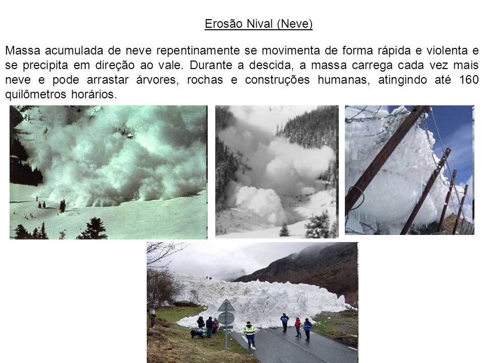 Erosão Nival (Neve) Massa acumulada de neve repentinamente se movimenta de forma rápida e violenta e se precipita em direção ao vale. Durante a descid