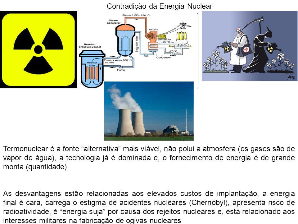 Contradição da Energia Nuclear Termonuclear é a fonte alternativa mais viável, não polui a atmosfera (os gases são de vapor de água), a tecnologia já é dominada e, o fornecimento de energia é de grande monta (quantidade) As desvantagens estão relacionadas aos elevados custos de implantação, a energia final é cara, carrega o estigma de acidentes nucleares (Chernobyl), apresenta risco de radioatividade, é energia suja por causa dos rejeitos nucleares e, está relacionado aos interesses militares na fabricação de ogivas nucleares