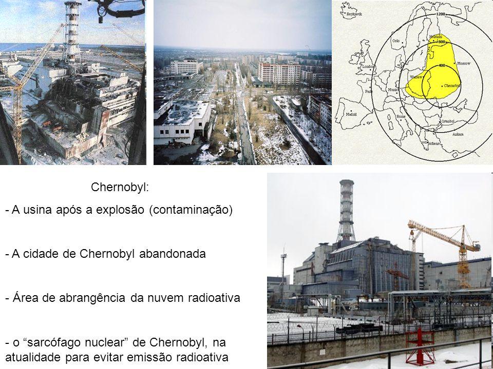 Chernobyl: - A usina após a explosão (contaminação) - A cidade de Chernobyl abandonada - Área de abrangência da nuvem radioativa - o sarcófago nuclear de Chernobyl, na atualidade para evitar emissão radioativa