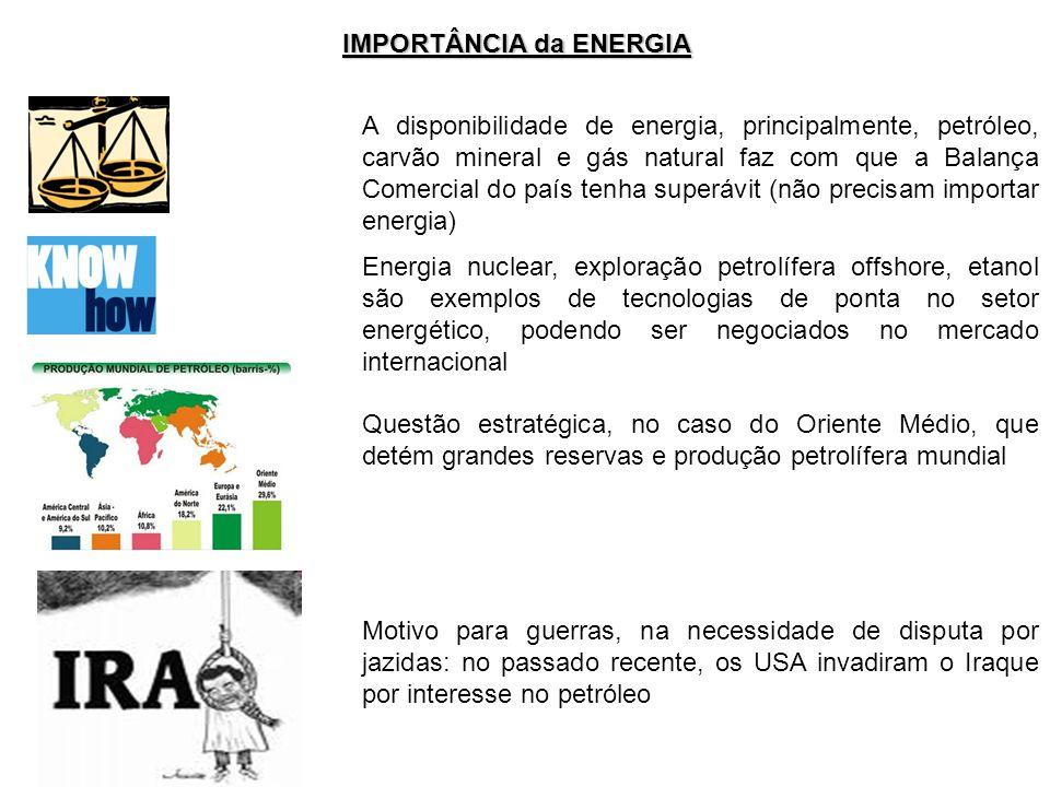 IMPORTÂNCIA da ENERGIA A disponibilidade de energia, principalmente, petróleo, carvão mineral e gás natural faz com que a Balança Comercial do país te
