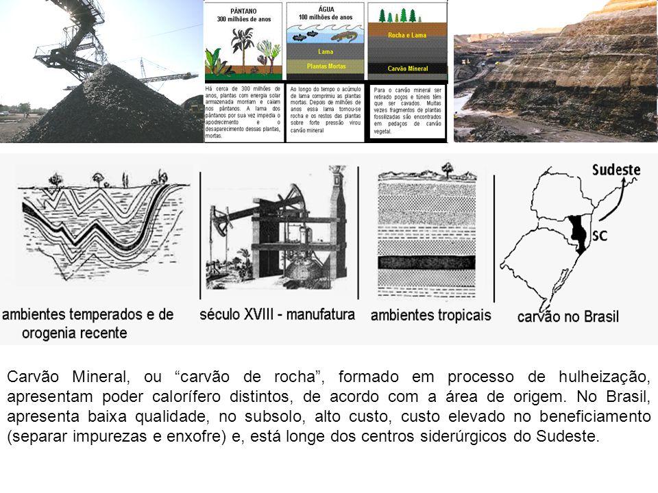 Carvão Mineral, ou carvão de rocha, formado em processo de hulheização, apresentam poder calorífero distintos, de acordo com a área de origem.
