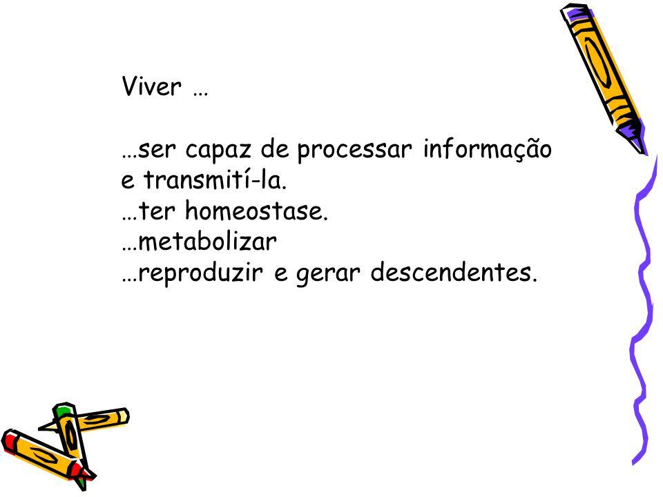 Viver … …ser capaz de processar informação e transmití-la.