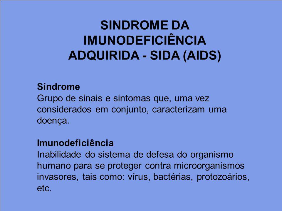 Síndrome Grupo de sinais e sintomas que, uma vez considerados em conjunto, caracterizam uma doença. Imunodeficiência Inabilidade do sistema de defesa