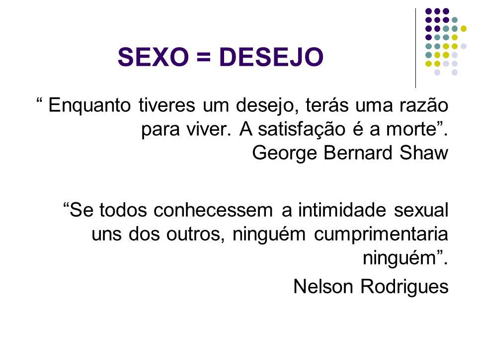 SEXO = DESEJO Enquanto tiveres um desejo, terás uma razão para viver. A satisfação é a morte. George Bernard Shaw Se todos conhecessem a intimidade se
