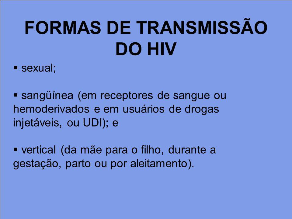FORMAS DE TRANSMISSÃO DO HIV sexual; sangüínea (em receptores de sangue ou hemoderivados e em usuários de drogas injetáveis, ou UDI); e vertical (da m