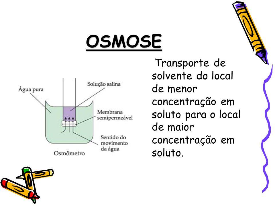 OSMOSE Transporte de solvente do local de menor concentração em soluto para o local de maior concentração em soluto.
