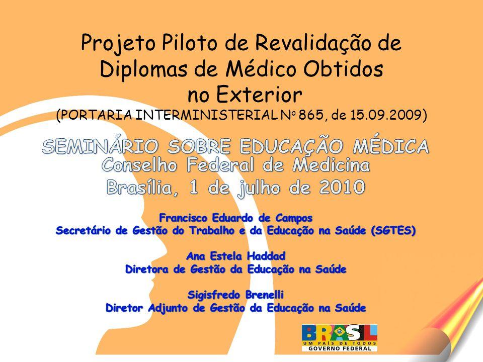 Projeto Piloto de Revalidação de Diplomas de Médico Obtidos no Exterior (PORTARIA INTERMINISTERIAL N o 865, de 15.09.2009)