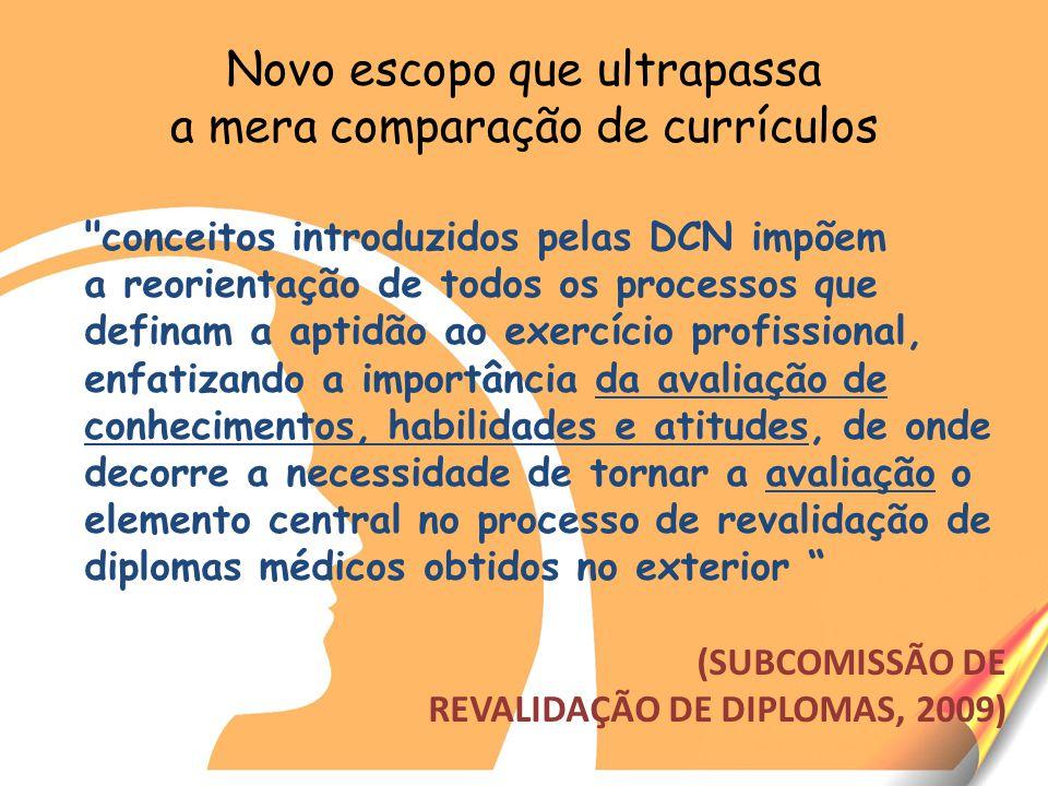 Novo escopo que ultrapassa a mera comparação de currículos conceitos introduzidos pelas DCN impõem a reorientação de todos os processos que definam a aptidão ao exercício profissional, enfatizando a importância da avaliação de conhecimentos, habilidades e atitudes, de onde decorre a necessidade de tornar a avaliação o elemento central no processo de revalidação de diplomas médicos obtidos no exterior (SUBCOMISSÃO DE REVALIDAÇÃO DE DIPLOMAS, 2009)