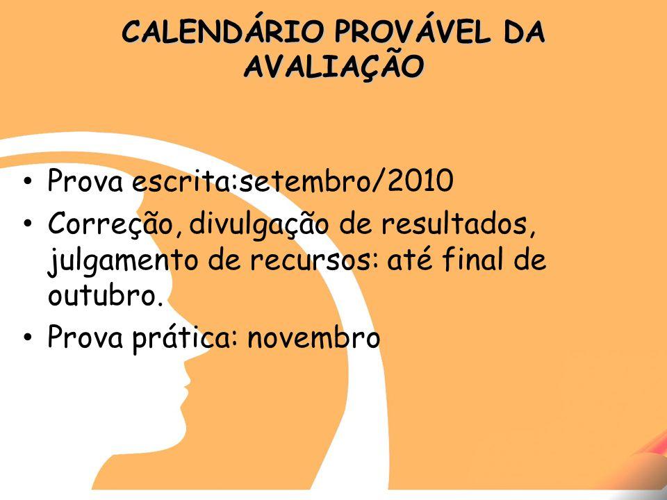 CALENDÁRIO PROVÁVEL DA AVALIAÇÃO Prova escrita:setembro/2010 Correção, divulgação de resultados, julgamento de recursos: até final de outubro.