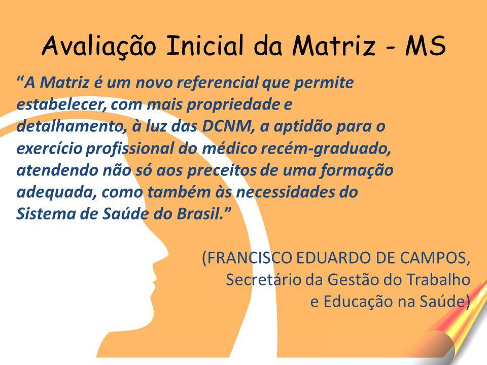 Avaliação Inicial da Matriz - MS A Matriz é um novo referencial que permite estabelecer, com mais propriedade e detalhamento, à luz das DCNM, a aptidão para o exercício profissional do médico recém-graduado, atendendo não só aos preceitos de uma formação adequada, como também às necessidades do Sistema de Saúde do Brasil.