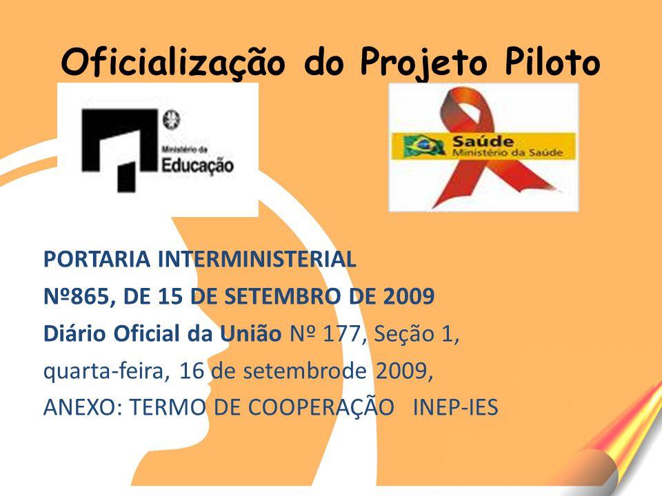 Oficialização do Projeto Piloto PORTARIA INTERMINISTERIAL Nº865, DE 15 DE SETEMBRO DE 2009 Diário Oficial da União Nº 177, Seção 1, quarta-feira, 16 de setembrode 2009, ANEXO: TERMO DE COOPERAÇÃO INEP-IES