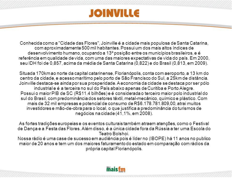 Conhecida como a Cidade das Flores , Joinville é a cidade mais populosa de Santa Catarina, com aproximadamente 500 mil habitantes.