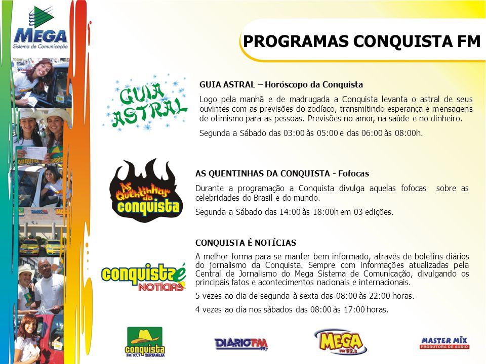 PROGRAMAS CONQUISTA FM GUIA ASTRAL – Horóscopo da Conquista Logo pela manhã e de madrugada a Conquista levanta o astral de seus ouvintes com as previs