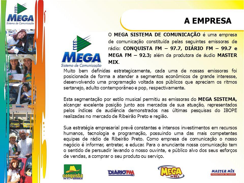 A EMPRESA Muito bem definidas estrategicamente, cada uma de nossas emissoras foi posicionada de forma a atender a segmentos econômicos de grande inter