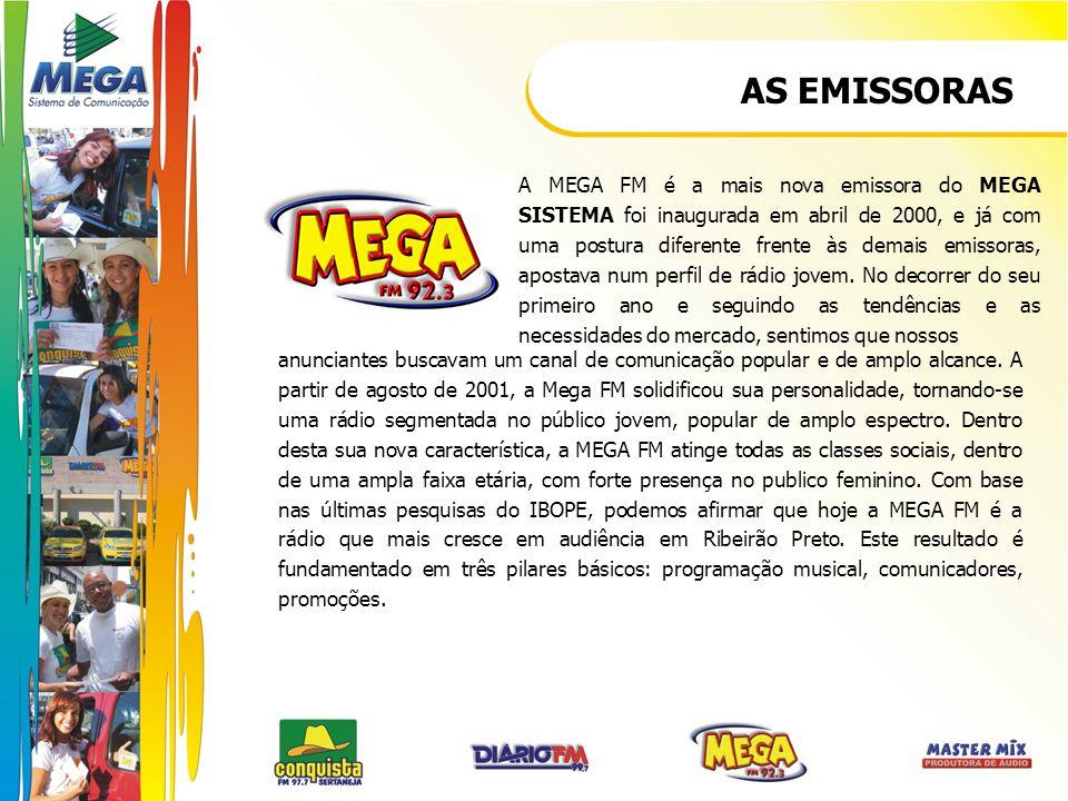 AS EMISSORAS A MEGA FM é a mais nova emissora do MEGA SISTEMA foi inaugurada em abril de 2000, e já com uma postura diferente frente às demais emissor