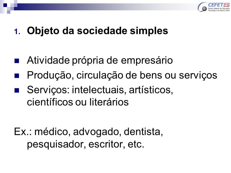 1. Objeto da sociedade simples Atividade própria de empresário Produção, circulação de bens ou serviços Serviços: intelectuais, artísticos, científico